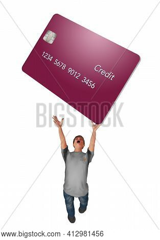A Man Struggles To Hold A Hug Credit Card Over His Head In This 3-d Illustration. Illustrates Credit
