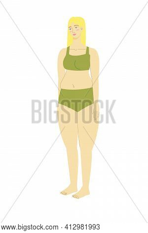 Blond Woman In A Swimsuit With A Healthy Body. Beautiful Girl In A Swimsuit. Body Positivity And Fem