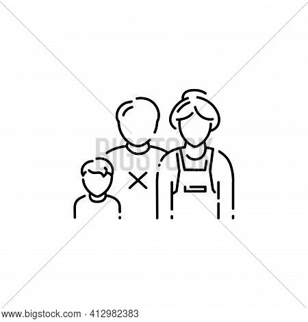Single Mother Color Line Icon. Defective Family.