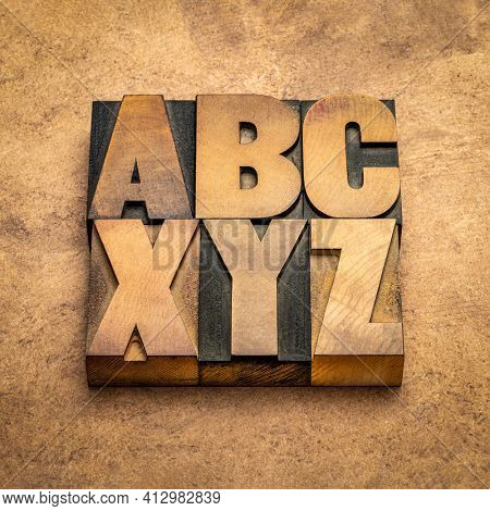 a, b, c  and x, y, z  - first and last letters of alphabet in vintage wooden letterpress type blocks against handmade bark paper, essentials, start, beginning and end  concept