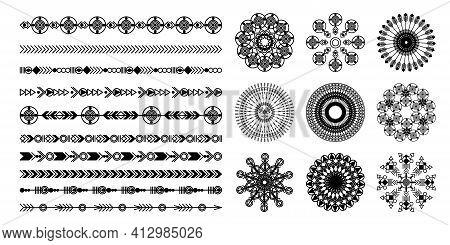 Ethnic Hand Drawn Vector Line Border Set. Boho Fashion Style Pattern. Vector Design Elements.