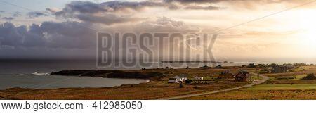 Panoramic View Of Homes At The Atlantic Ocean Coast. Dramatic Cloudy Sunrise Sky Art Render. Taken I
