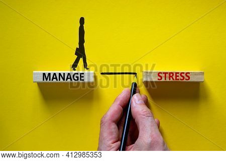 Manage Stress Symbol. Wooden Blocks With Words 'manage Stress'. Beautiful Yellow Background. Busines