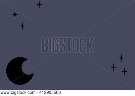 Moon And Stars Copyspace On Dark Blue Background