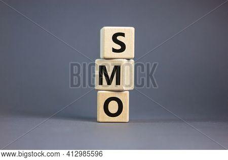 Smo, Social Media Optimization Symbol. Wooden Cubes With Word 'smo - Social Media Optimization' On B