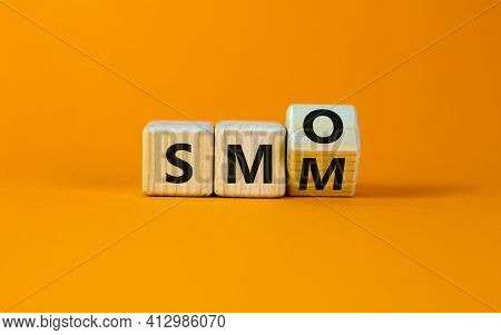 Smm Vs Smo Symbol. Turned A Cube And Changed Words 'smm, Social Media Marketing' To 'smo, Social Med