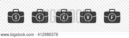 Suitcases With Money Sign. Briefcase Icons Collection. Briefcases Modern Style. Portfolio Icons. Vec