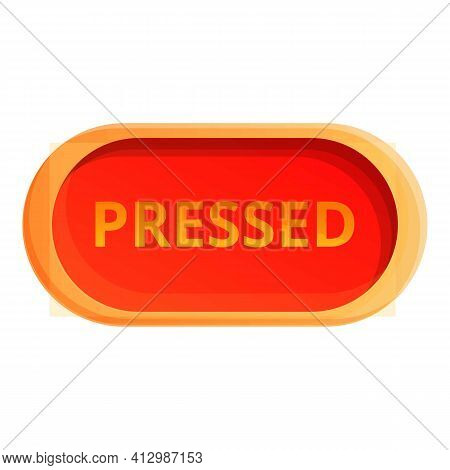 Pressed Button Interface Icon. Cartoon Of Pressed Button Interface Vector Icon For Web Design Isolat