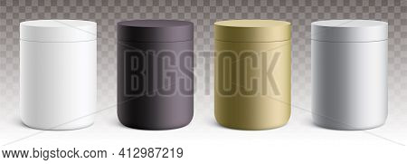 Vector Set Of Matte Plastic Round Containers.