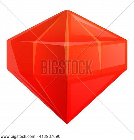 Ruby Gemstone Interface Icon. Cartoon Of Ruby Gemstone Interface Vector Icon For Web Design Isolated