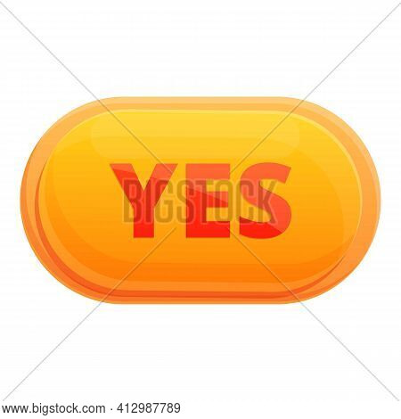 Yes Interface Button Icon. Cartoon Of Yes Interface Button Vector Icon For Web Design Isolated On Wh