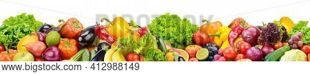 Horizontal seamless pattern from healthy fruits, vegetables and berries isolated on white background.