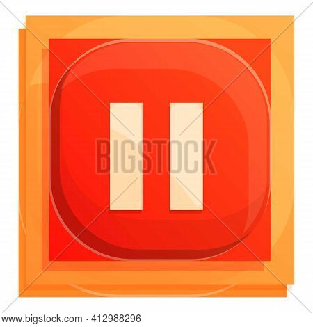 Pause Button Interface Icon. Cartoon Of Pause Button Interface Vector Icon For Web Design Isolated O