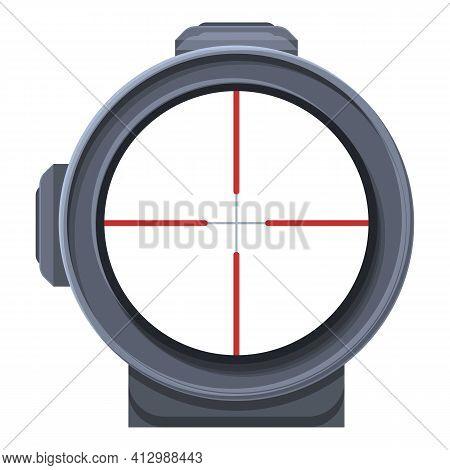 Telescopic Sight Gun Icon. Cartoon Of Telescopic Sight Gun Vector Icon For Web Design Isolated On Wh