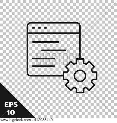 Black Line Computer Api Interface Icon Isolated On Transparent Background. Application Programming I