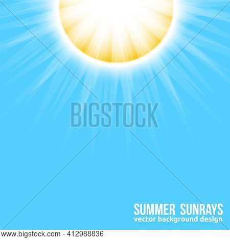 Bright Sun With Sun Rays On Blue Sky Background. Beautiful Sunny Banner With Sunburst Sunbeams. Vect