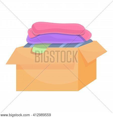 Community Donation Clothes Box Icon. Cartoon Of Community Donation Clothes Box Vector Icon For Web D