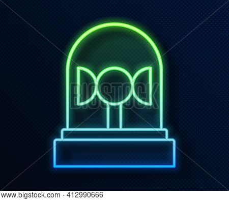Glowing Neon Line Flasher Siren Icon Isolated On Blue Background. Emergency Flashing Siren. Vector