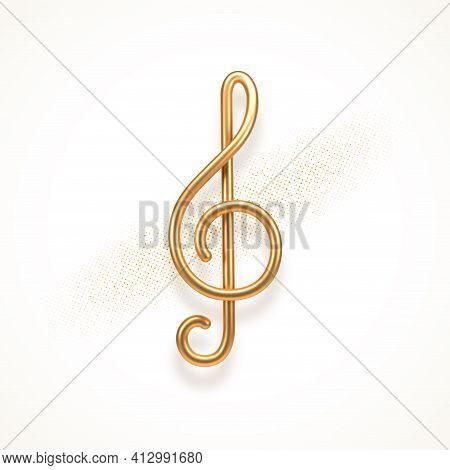 Realistic Golden Metal Treble Clef On A White Background. 3d Golden Musical Symbol - Decoration Elem