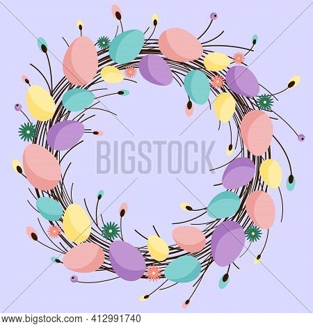 Easter Wreath Made Of Willow Branches With Decorated Easter Eggs And Flowers. Easter Greeting Card