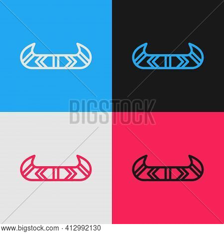 Pop Art Line Kayak And Paddle Icon Isolated On Color Background. Kayak And Canoe For Fishing And Tou