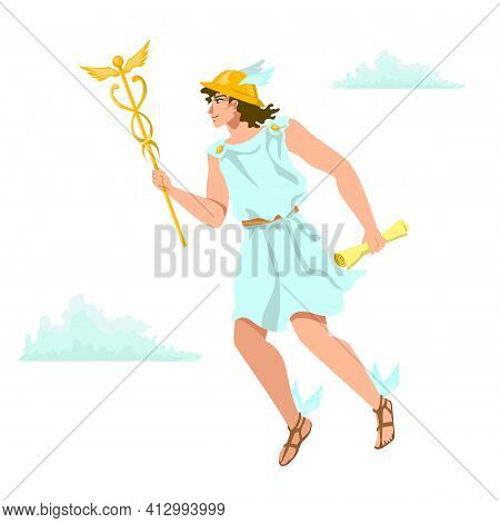 Hermes, Mercury, Greek Olympian Deity Of Merchants, Commerce, Sly Divine Trickster. Agile Messenger,