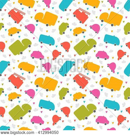 Cute Seamless Pattern With Cars. Cartoon Background For Children. Hand Drawn Transport. Nursery Styl