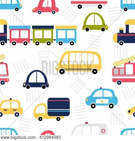 Funny Seamless Pattern With City Transport. Cute Cartoon Background For Kids. Nursery Style