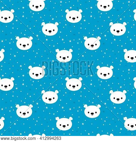 Seamless Pattern With Cartoon White Bears For Kids. Hand Drawn Background With Cute Animals. Abstrac