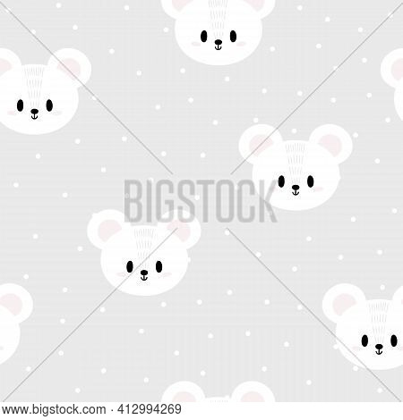 Seamless Pattern With Cute Cartoon White Mouses For Kids. Hand Drawn Background With Animals. Abstra
