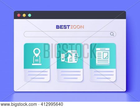 Set Death Certificate In Hand, Location Grave And Obituaries Icon. Vector