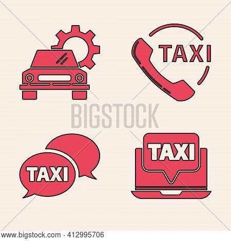 Set Laptop Call Taxi Service, Car Service, Taxi Call Telephone Service And Taxi Call Telephone Servi