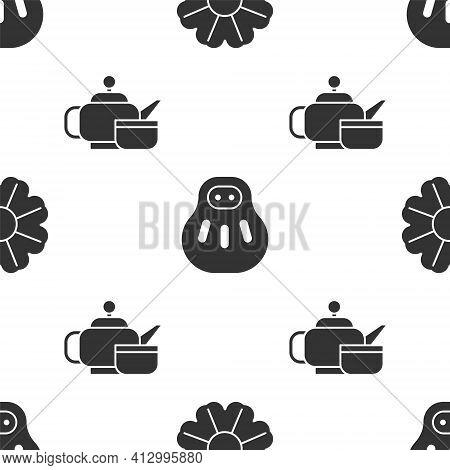 Set Flower, Maneki Neko Cat And Japanese Tea Ceremony On Seamless Pattern. Vector