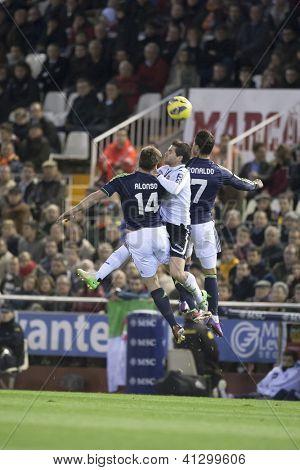 VALENCIA - JANUARY 20: Alonso, Gago and Ronaldo during Spanish Soccer League match between Valencia CF and Real Madrid, on January 20, 2013, in Mestalla Stadium, Valencia, Spain