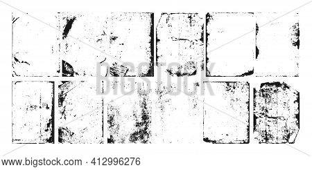 Grunge Texture Noise, Abstract Black Effect Set, Vector Illustration. Dark Dirty Overlay Design, Ink
