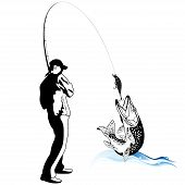 Fisherman caught a pike, sport fishing vector illustration poster