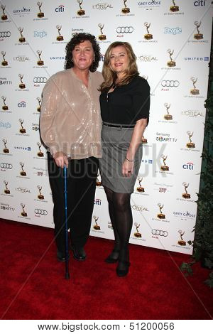 LOS ANGELES - SEP 20:  Dot Marie Jones, Bridgett Casteen at the Emmys Performers Nominee Reception at  Pacific Design Center on September 20, 2013 in West Hollywood, CA