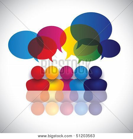 Concept Vector Of School Kids Talking Or Office Staff Meeting