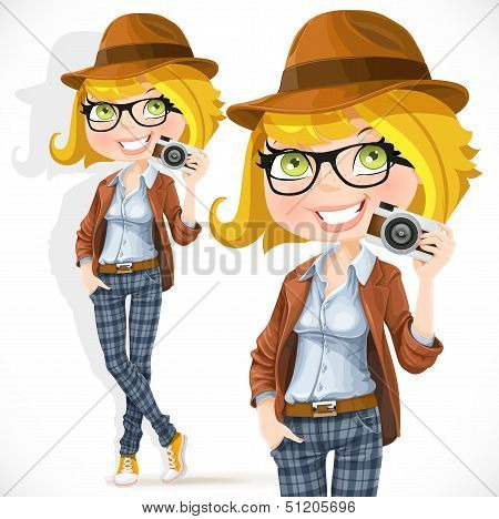 Hipster girl with a camera
