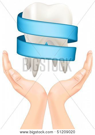 white tooth with a blue ribbon in hand. Rasterized illustration. Vector version in my portfolio