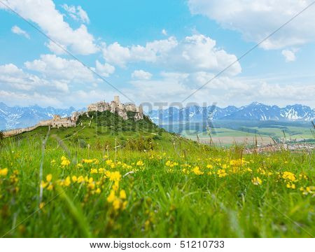 Spis Castle With Mountains On Background
