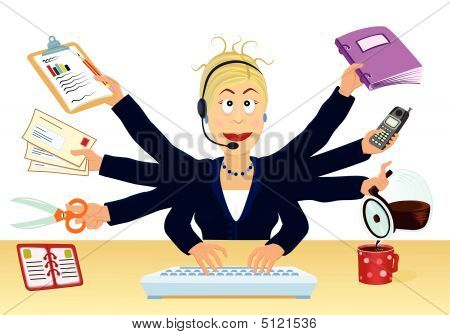 Multitasking And Stress At The Office - Vector Illustration