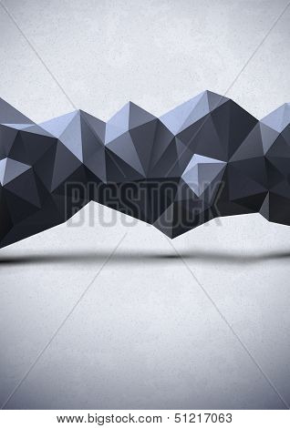 Abstract noisy background with dark polygonal line poster