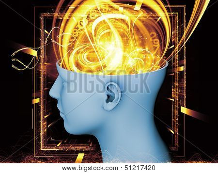 Abstract design made of human head and symbolic elements on the subject of human mind consciousness imagination science and creativity poster