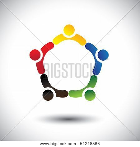 Unity In People Community, Solidarity & Friendship- Concept Vector