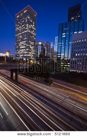 Traffic Through Downtown Los Angeles At Sunset