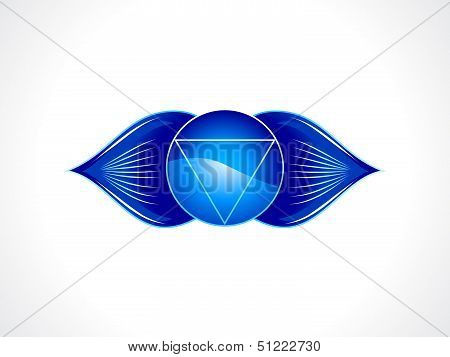 abstract blue detailed brow chakra vector illustration poster