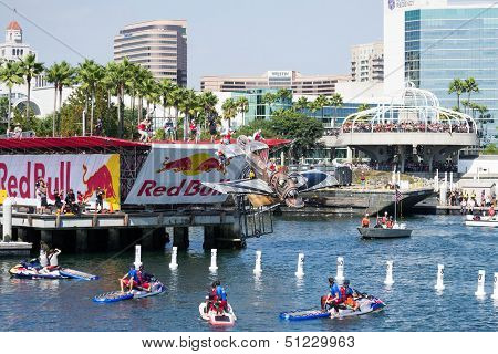 Competitors perform a flight on Red Bull Flugtag on September 21, 2013 in Long Beach