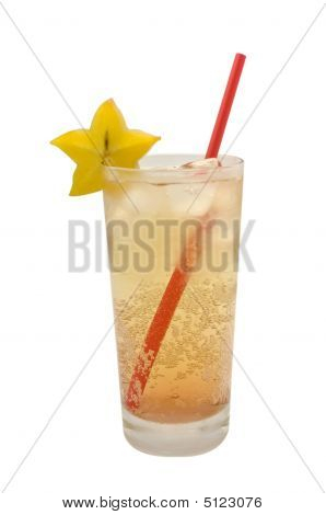 Cold Fizzy Drink In A Tall Glass With Red Straw And Starfruit Gark In A Tall Glass With Red Straw An
