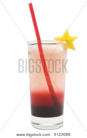 Two-toned Drink In A Tall Glass With Red Straw And Starfruit Garnish